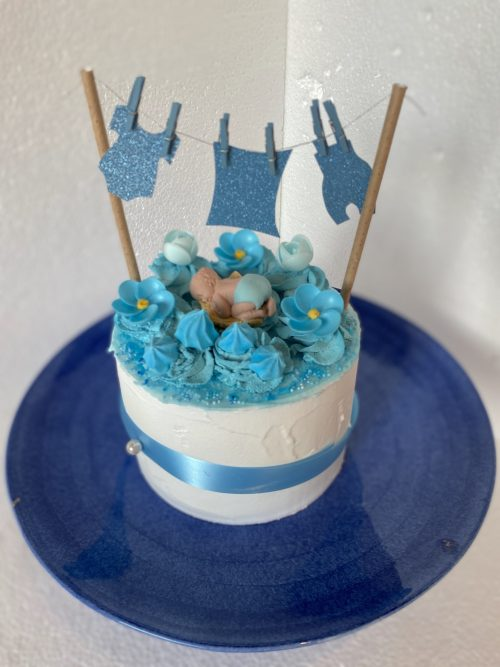 blauwe babyshower taart