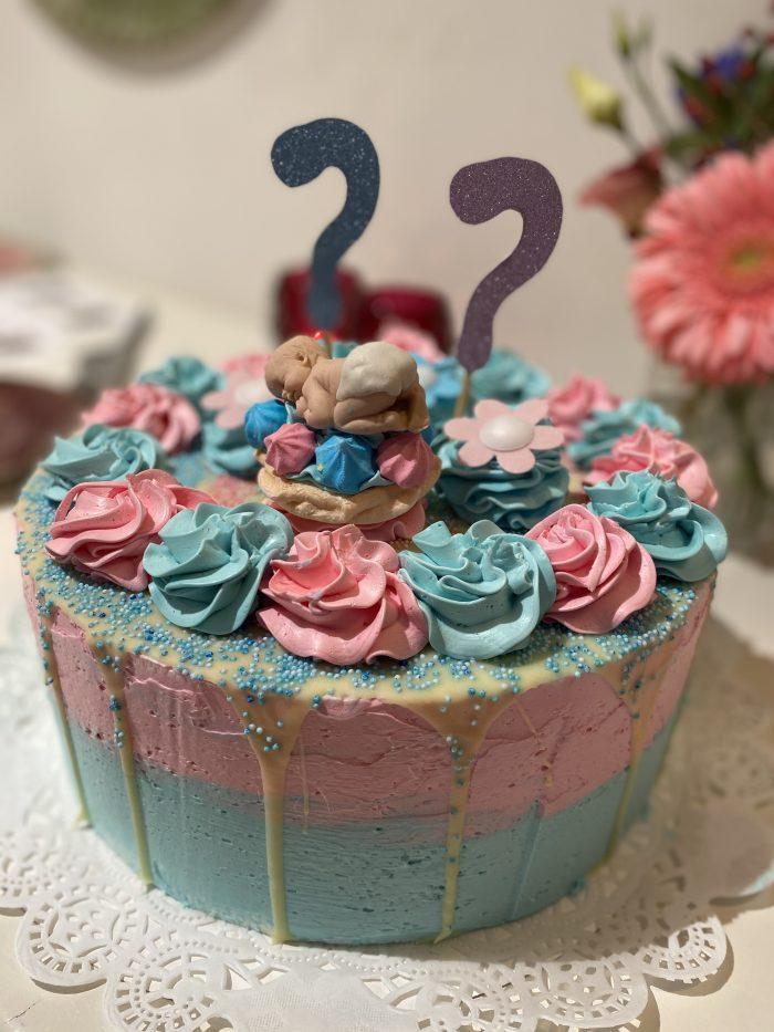 babyshower taart of gender reveal feestje